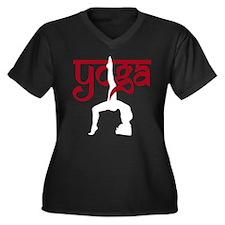Yoga One-Legged Bridge Pose Women's Plus Size V-Ne