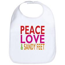 Peace, Love Sandy Feet Bib