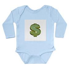 Unique Money dollar Long Sleeve Infant Bodysuit