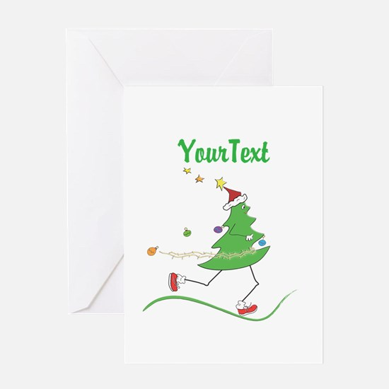 Customize Christmas Tree Runner Greeting Cards