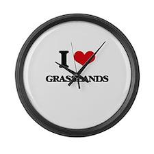 I Love Grasslands Large Wall Clock