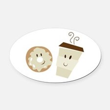Coffee and Donut Oval Car Magnet