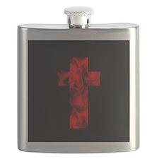 Fire Red Black Catholic Cross Design Flask