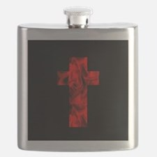 Fire Red Black Catholic Cross Design Flask