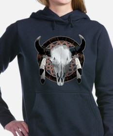 Buffalo skull dream catcher Women's Hooded Sweatsh