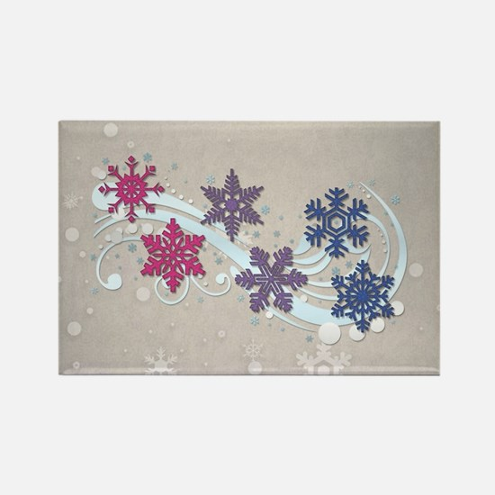 Bisexual Snow Flakes Rectangle Magnet