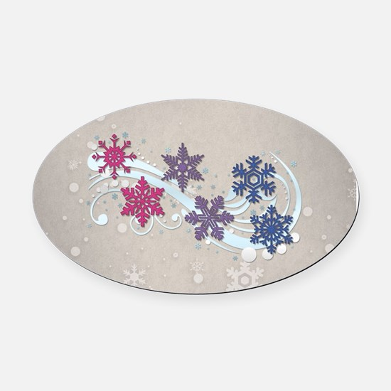 Bisexual Snow Flakes Oval Car Magnet