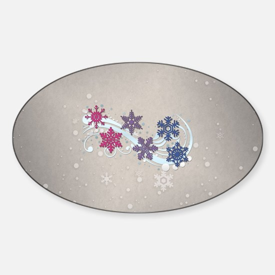 Bisexual Snow Flakes Sticker (Oval)