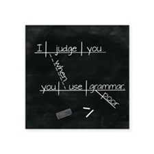 "Grammar Diagram (Blk sq) Square Sticker 3"" x 3"""
