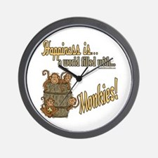 Happiness is a monkey Wall Clock