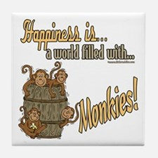 Happiness is a monkey Tile Coaster