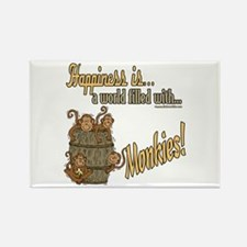 Happiness is a monkey Rectangle Magnet (10 pack)