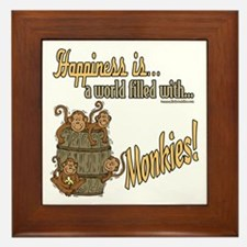 Happiness is a monkey Framed Tile