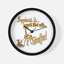 Happiness is a giraffe Wall Clock