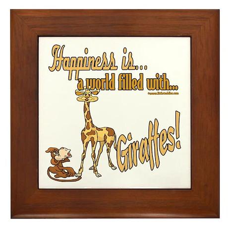 Happiness is a giraffe Framed Tile
