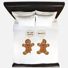 My Leg Hurts! What? Gingerbread Men King Duvet