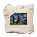 Starry Night Doberman Tote Bag