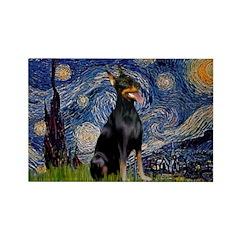 Starry Night Doberman Rectangle Magnet (10 pack)