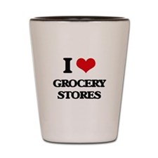 I Love Grocery Stores Shot Glass