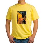 Cafe & Doberman Yellow T-Shirt