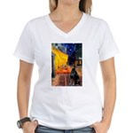 Cafe & Doberman Women's V-Neck T-Shirt
