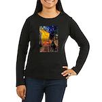 Cafe & Doberman Women's Long Sleeve Dark T-Shirt