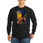 Cafe & Doberman Long Sleeve Dark T-Shirt
