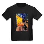 Cafe & Doberman Kids Dark T-Shirt