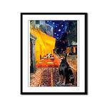 Cafe & Doberman Framed Panel Print