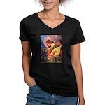 Mandolin Angel & Dobie Women's V-Neck Dark T-Shirt