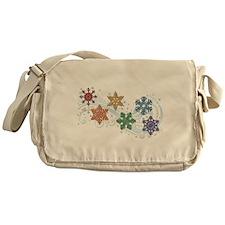 Rainbow Snow Flakes Messenger Bag