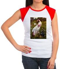 Windflowers / Doberman Women's Cap Sleeve T-Shirt