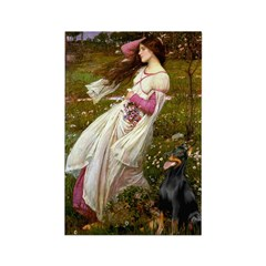 Windflowers / Doberman Rectangle Magnet (10 pack)