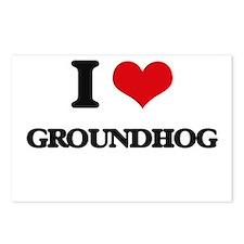 I Love Groundhog Postcards (Package of 8)