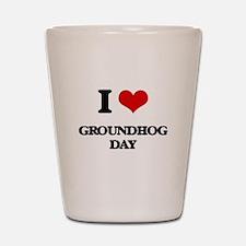 I Love Groundhog Day Shot Glass