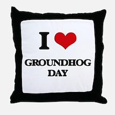 I Love Groundhog Day Throw Pillow