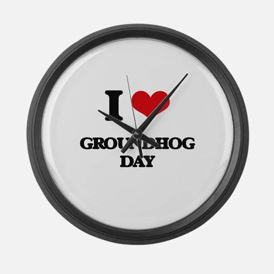 I Love Groundhog Day Large Wall Clock
