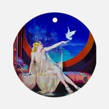 Sultana, Dove Pinup Ornament (Round)