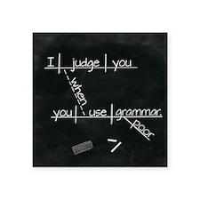 "Grammar Diagram (Blk sq) Square Sticker 3"" x 3"""