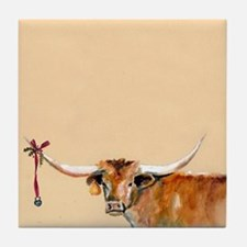 Long Horn Christmas Tile Coaster