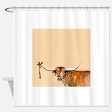 Long Horn Christmas Shower Curtain