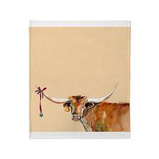 Long Horn Christmas Throw Blanket