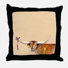 Long Horn Christmas Throw Pillow