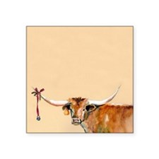 "Long Horn Christmas Square Sticker 3"" x 3"""