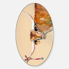 Long Horn Christmas Sticker (Oval)