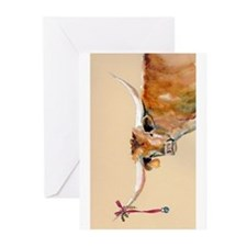 Long Horn Christmas Greeting Cards (Pk of 10)