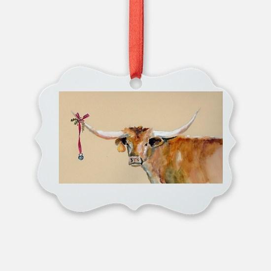 Long Horn Christmas Ornament