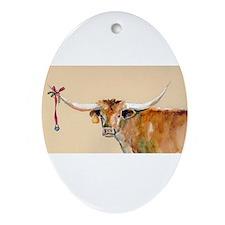 Long Horn Christmas Ornament (Oval)