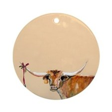 Long Horn Christmas Ornament (Round)