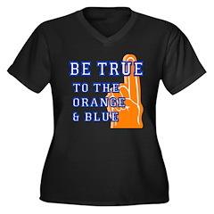Orange & Blue Baseball Women's Plus Size V-Neck Da